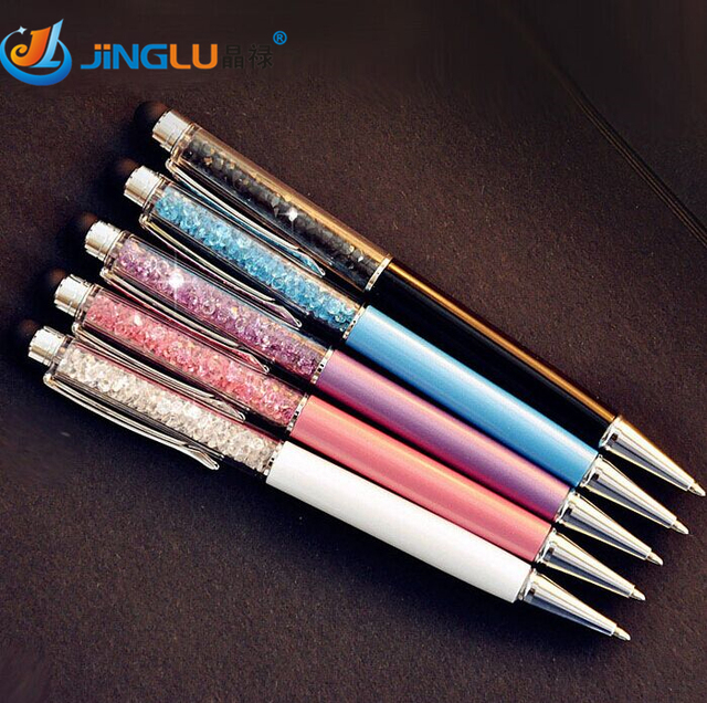 5 Unids/lote Crystal Pen Diamond Bolígrafos Papelería Bolígrafo Caneta útiles Escolares Materiales Zakka Oficina Regalo de La Novedad