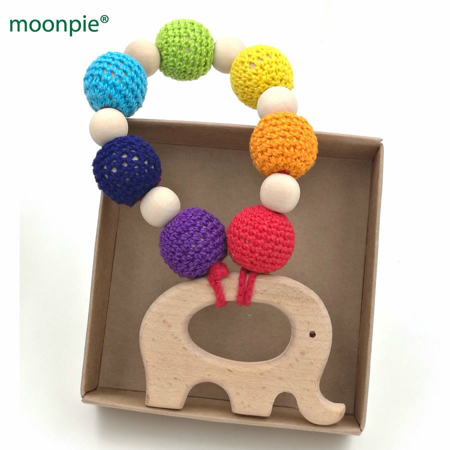 2pcs Organic Wood Beads Infant Teether Nursing Toy with Ring Bird Pendant