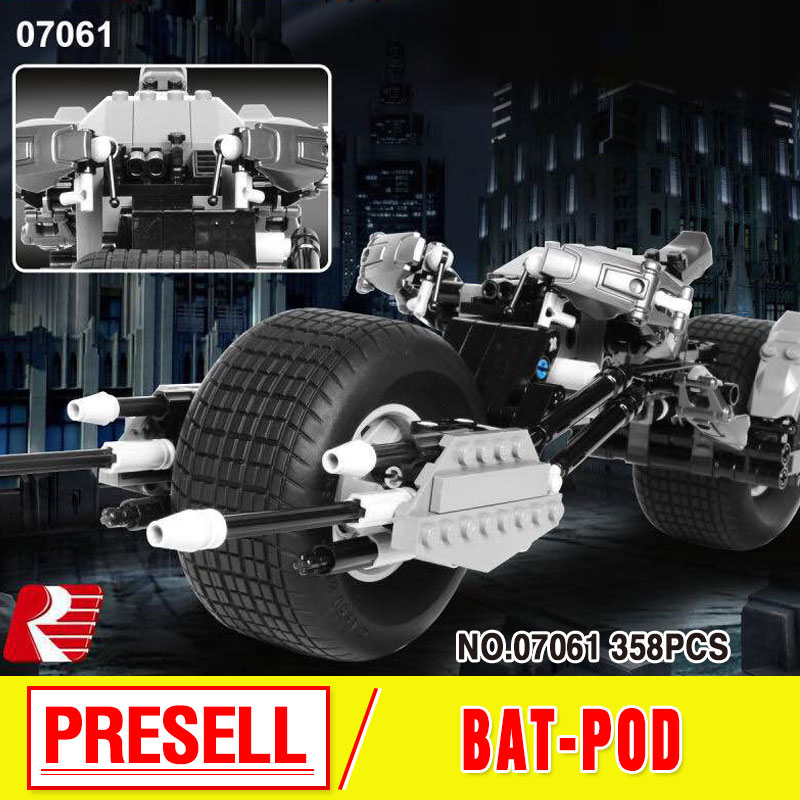 New Lepin 07061  Super Hero Series The Batman Motorcycle Set 5004590 Educational Building Blocks Bricks Toys Model boy Gift 7115