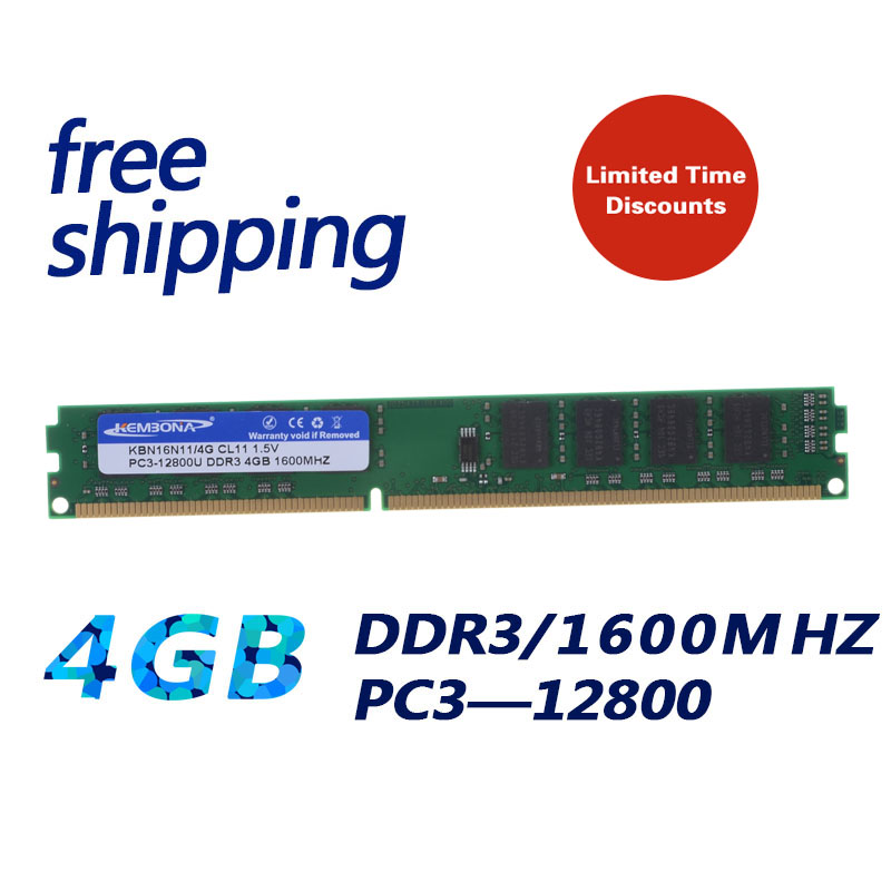 KEMBONA Brand New Sealed DDR3 4GB 1600MHZ / PC3 12800 4GB Desktop RAM Memory compatible with DDR3 1333 1066 MHz kembona 204pin brand new sealed ddr3 1333 pc3 10600 4gb laptop ram compatible with all motherboard 16chips free shipping