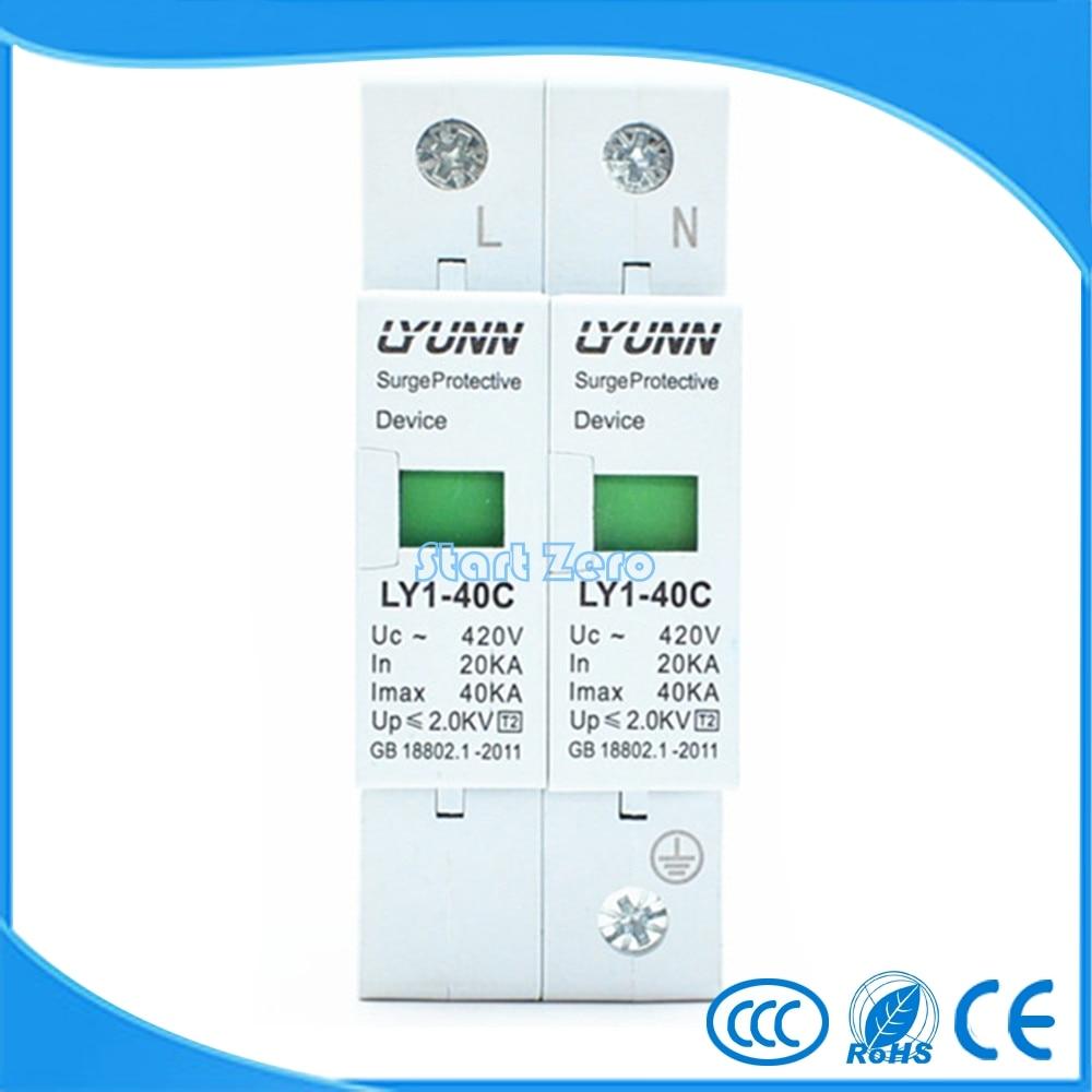 high quality 2P SPD 420V 20KA~40KA House Surge Protector Protective Low-voltage Arrester Device 1P+N