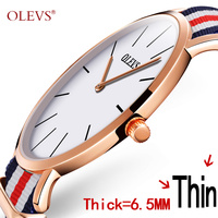 50 OFF OLEVS Ultra Thin Watches Brand Luxury Quartz Watch For Boy Waterproof Watch Nylon Band