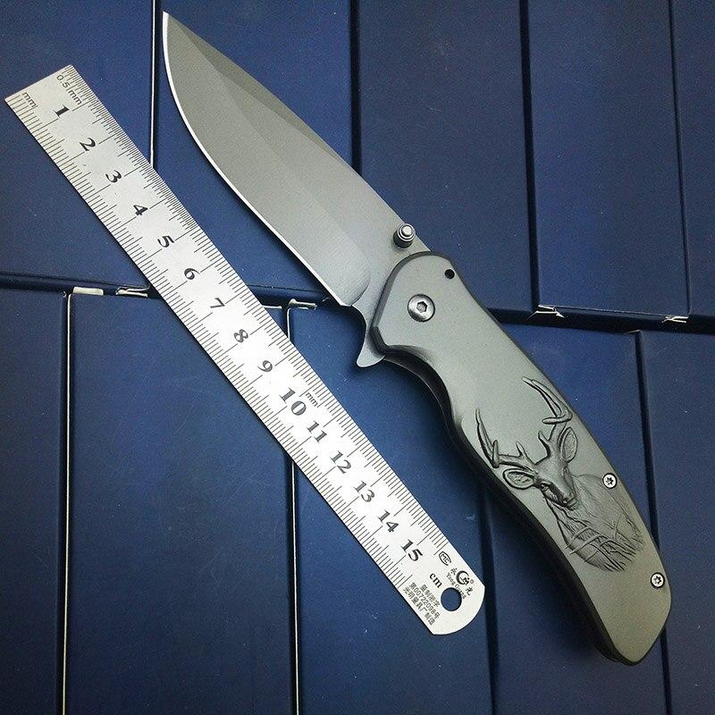 Gris titanio supervivencia del cuchillo de bolsillo plegable al aire libre cuchillo tallado ciervos graba Navidad brithday regalo alta calidad