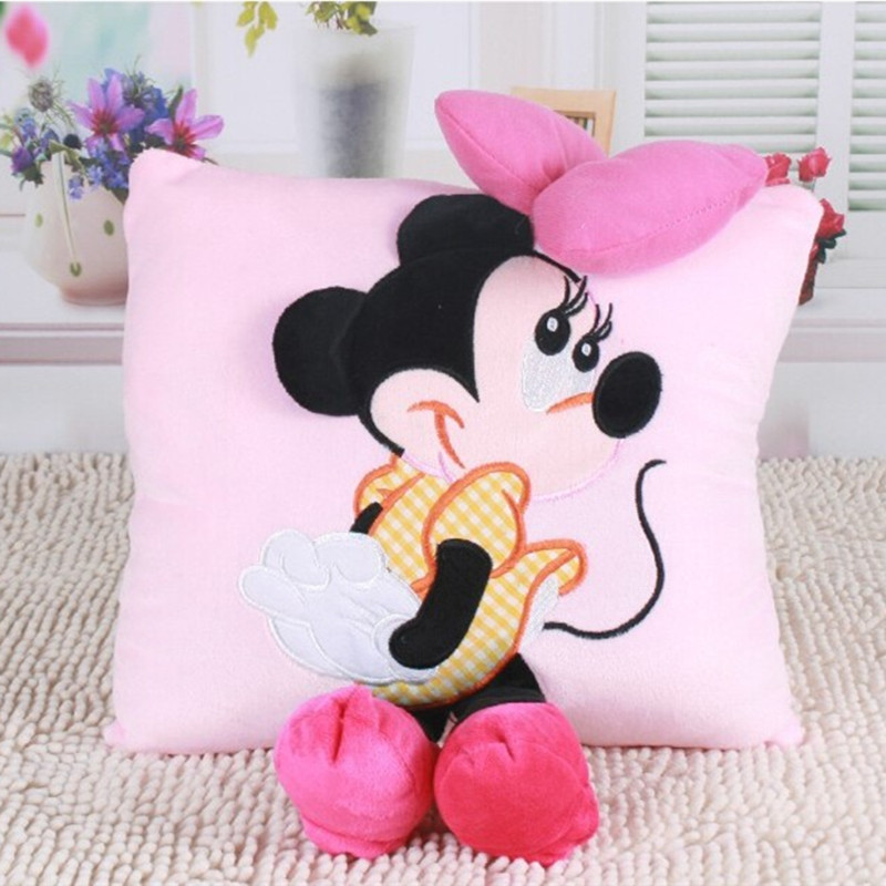 1pc Hot Sale Staffed Soft Animal Pillow Cushion Cute Mickey Mouse and Minnie Mouse Plush Toys Kawaii Birthday Gifts for KId Girl