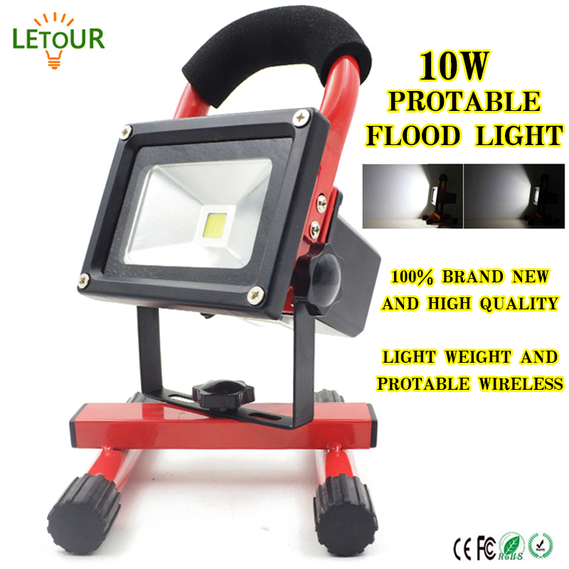FloodLight Portable LED Outdoor Light 10W 3 Dimmer Spotlight Rechargeable USB Port Emergency Light with Car Charger, Adapter