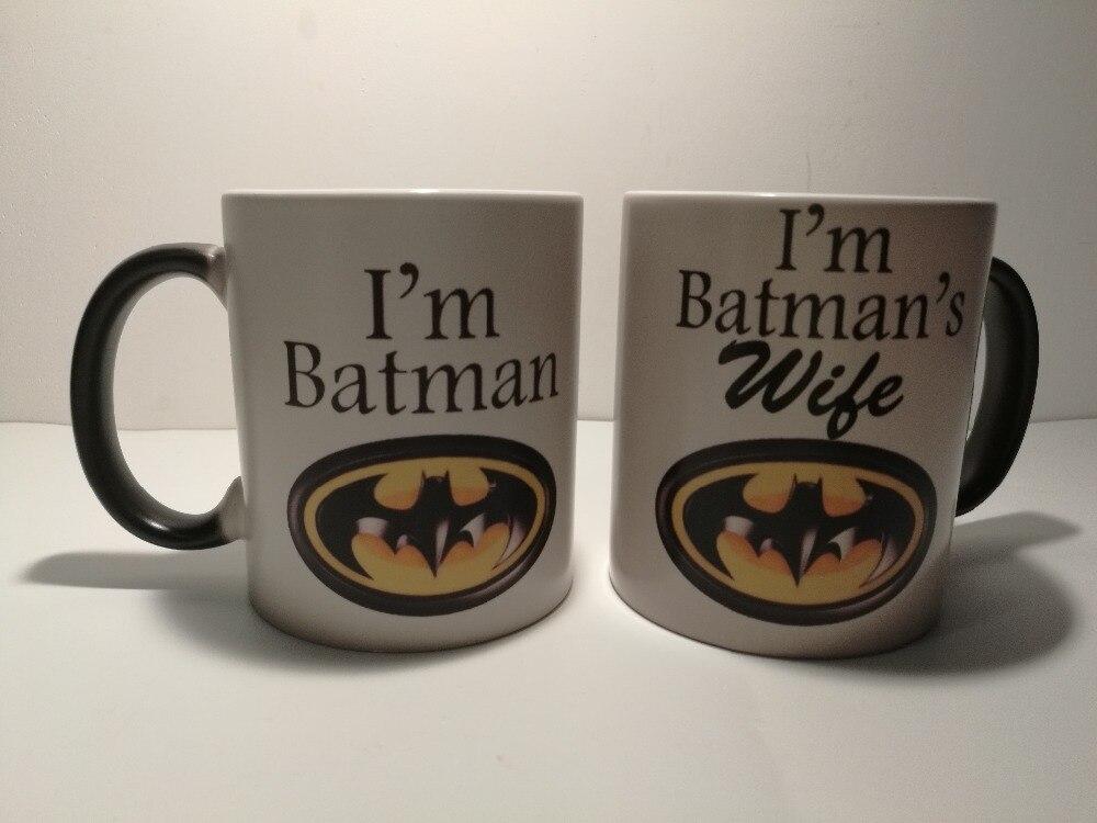 batman mug and batmans wife mug heat changing color mugs coffee cups transforming mugs heat reveal ceramic beer tea cups