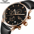 GUANQIN luminous men's quartz watch multifunction business clock hours male genuine Leather Casual Wristwatch relogio Box Free