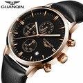 GUANQIN luminous multifunction negócio dos homens relógio de quartzo horas de relógio Caixa de Relógio de Pulso relogio masculino Couro genuíno Ocasional Livre