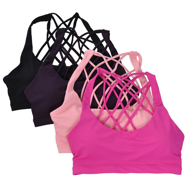 Vrouwen Sexy Ruglooze Sportbeha Push Up Yoga Bras Gym Gewatteerd - Sportkleding en accessoires