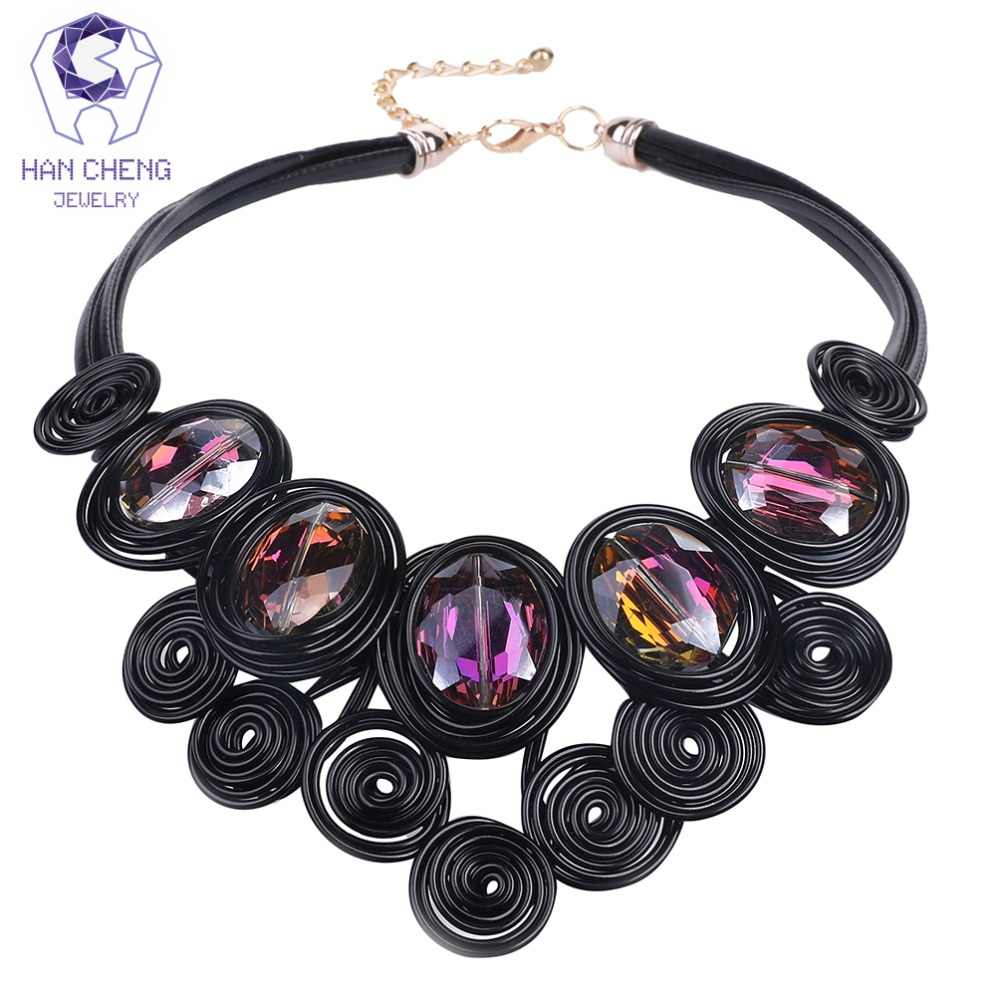 HanCheng New Fashion Handmade Rope Leather Short Choker Necklaces Discolor Crystal Women Necklaces Statement jewelry collar