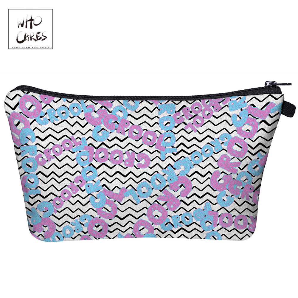 Makeup-Bags Grool Ladies Pouch Zipper Stripe Women Who Cares with 3d-Printing