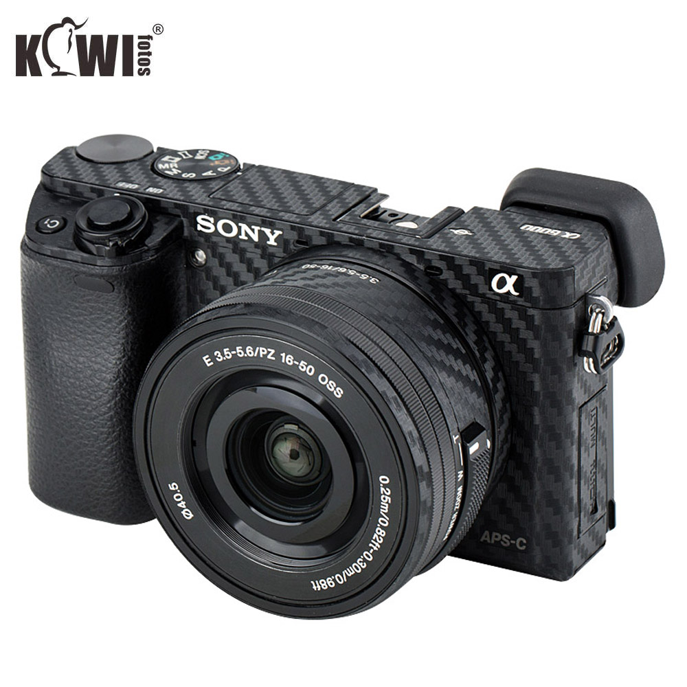 KIWIFOTOS Camera Body Cover Carbon Fiber Film Kit For Sony A6000 +16-50mm Lens Skin Anti-Scratch Anti-Slide Cameras 3M Stickers