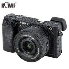 KIWIFOTOS korpus aparatu pokrywa folia z włókna węglowego zestaw do sony A6000 + 16 50mm obiektyw skóry Anti Scratch kamery antypoślizgowe 3M naklejki