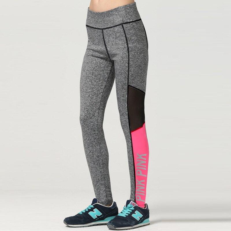 2018 Women Love Pink Letter Print Fitness Leggings Women High Waist Slim Vs Pink Slim Workout Luminous Sporting Legging P17 Z30