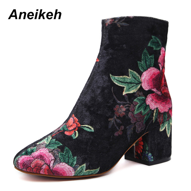 e1c8f044a Aneikeh Winter Women Brand Shoes Fashion Embroidery High Heel Round Toe  Floral Ankle Boots Square Heels Size 35-40 Black
