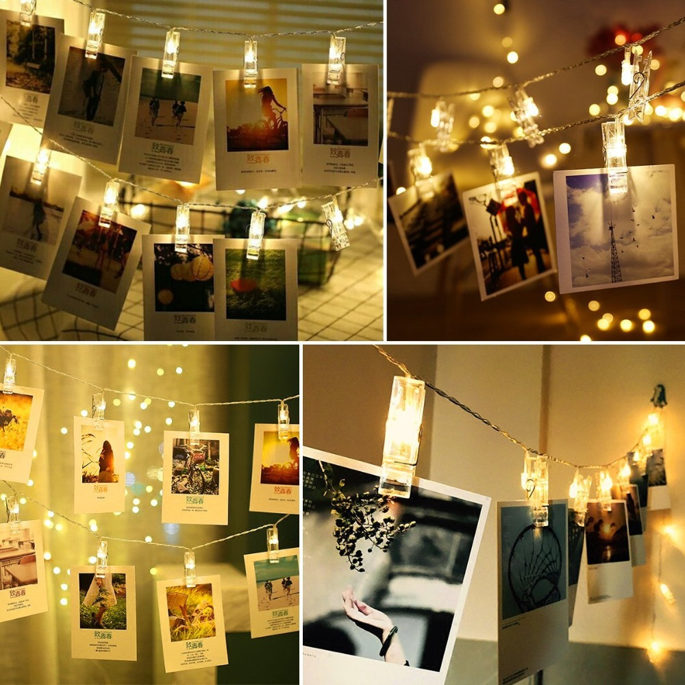 Photo Clip Holder LED String lights For Christmas New Year Party Wedding Home Decoration Fairy lights Battery (2)