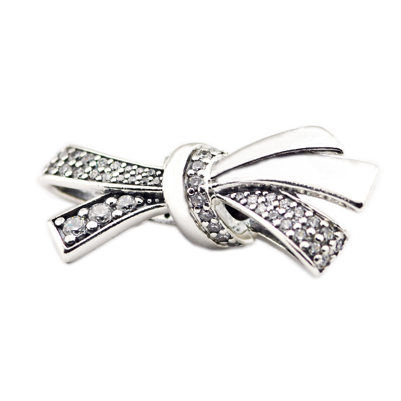 Fits Bracelets Beads for Jewelry Making DIY Sterling-Silver-JEWELRY Brilliant Bow Charm Bead Charms Kralen