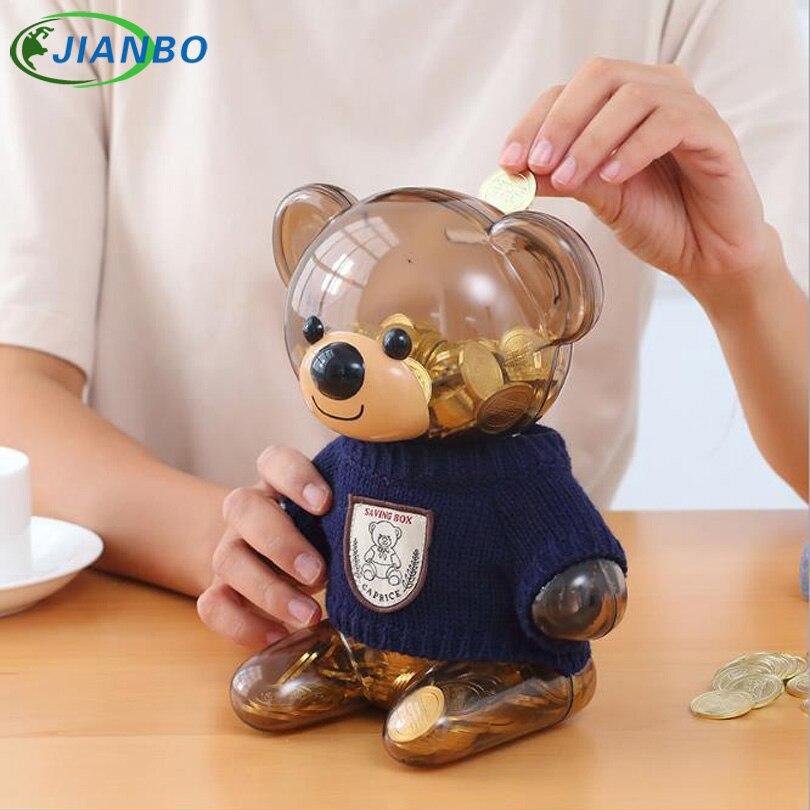 Пластик деньги Сейф Свитер с принтом медведь Копилка прозрачным детская монеты коллектор прекрасный Рождество присутствует jb-my1002 ...