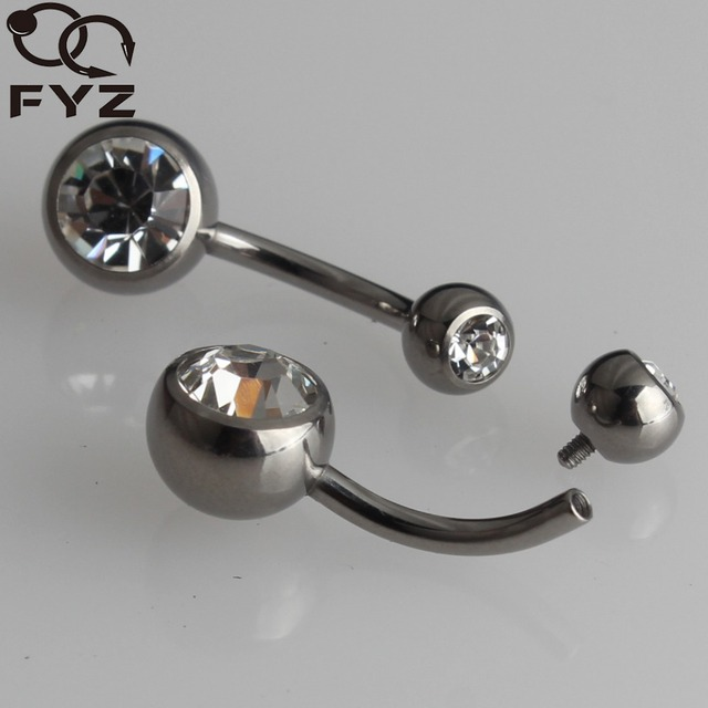 Internally Threaded G23 Titanium Belly Button Rings 14g Double Gems Navel Bars Belly Rings Body Piercing Jewelry