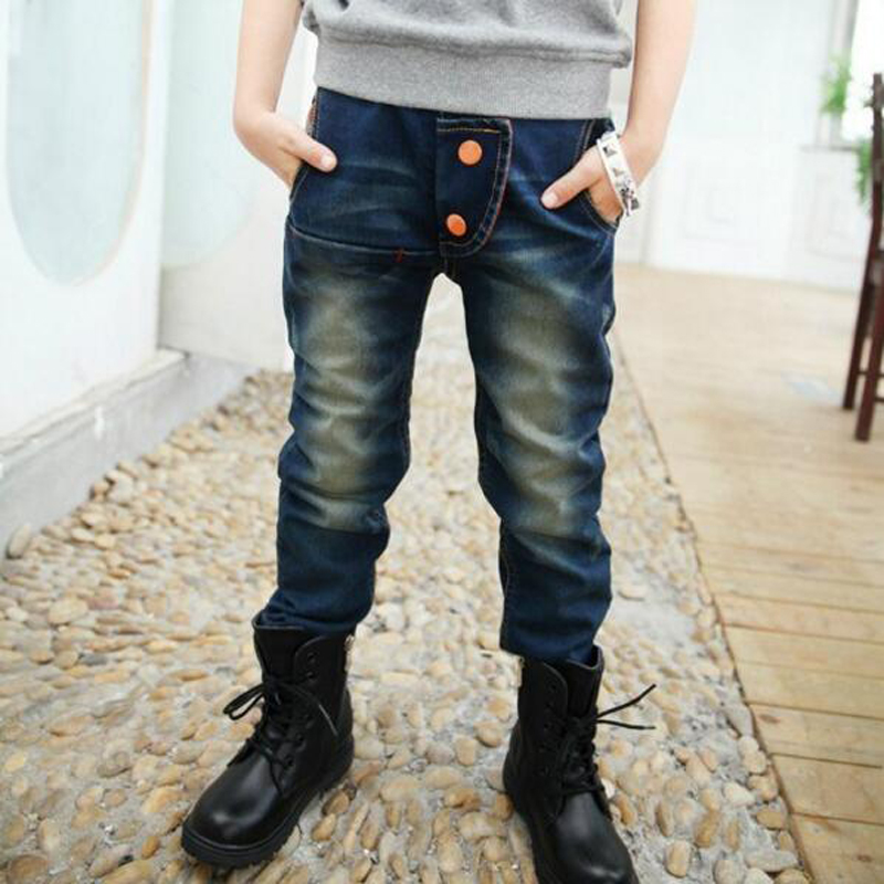 Children's clothing male child jeans trousers spring and autumn 8 child jeans winter male big boy trousers casual pants for 5-13 brand 2017 new fashion men s straight flanging nine points trousers big embroidered jeans black and blue jeans male m xxl