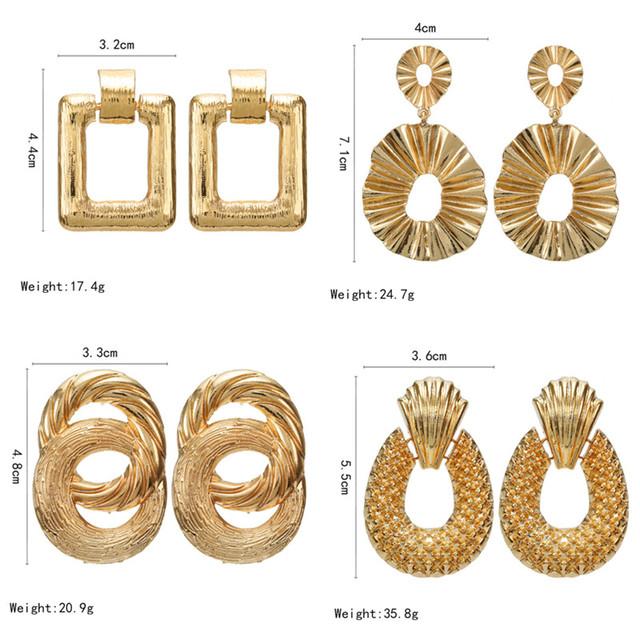 2019 Vintage earrings large for women statement earrings geometric golden color metal pendant earrings trend fashion jewelry