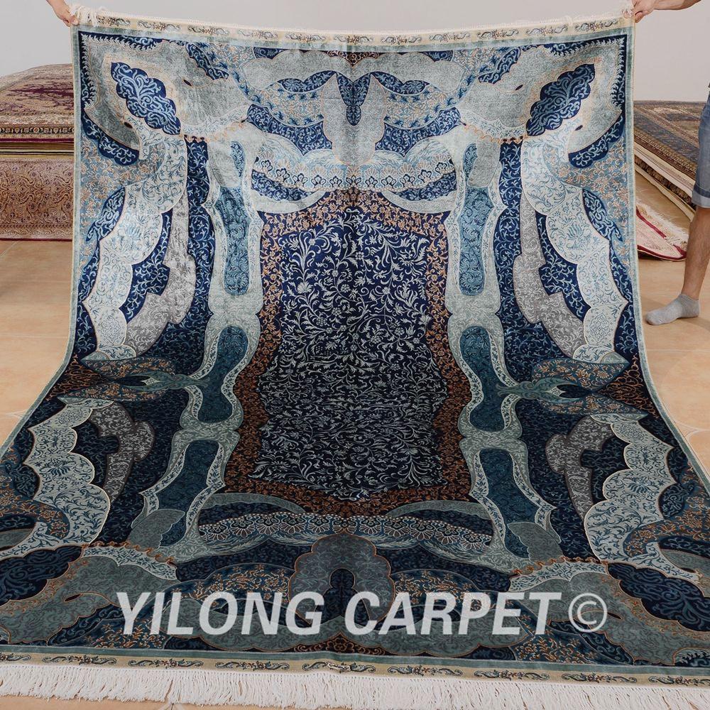 Yilong 6'x9 Turki Pola Rajutan Karpet Persia Sutra Unik Pola Biru - Tekstil rumah - Foto 1