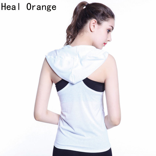 HEAL ORANGE Yoga Hoodie Pocket Yoga Tops Women Gym Top Women Training Top Fitness Running Shirt Gym Clothes Sportswear Tank Vest