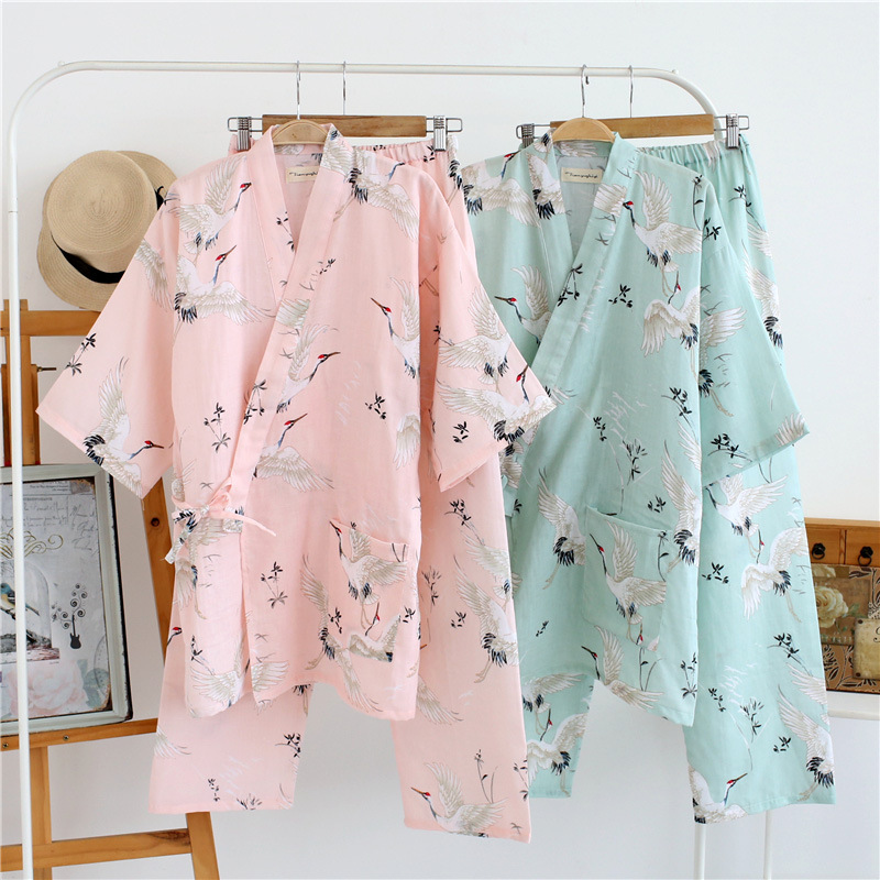 Women's Yukata Japanese Kimono Robes Pajamas Sets Cotton Dress Shorts Pants Nightgown Sleepwear Bathrobe Leisure Wear Homewear