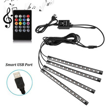 LED RGB ไฟ SMD5050 DC5V 12V กันน้ำยืดหยุ่นรถ Tnterior เทปเพลงเปิดใช้งาน Neon 4pcs LED Strip USB