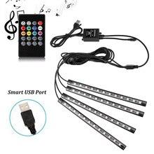 Taśma LED samochodów światła rgb SMD5050 DC5V 12V wodoodporna elastyczna taśma oświetlająca samochód Tnterior aktywowany dźwiękiem Neon 4 sztuk taśmy LED USB