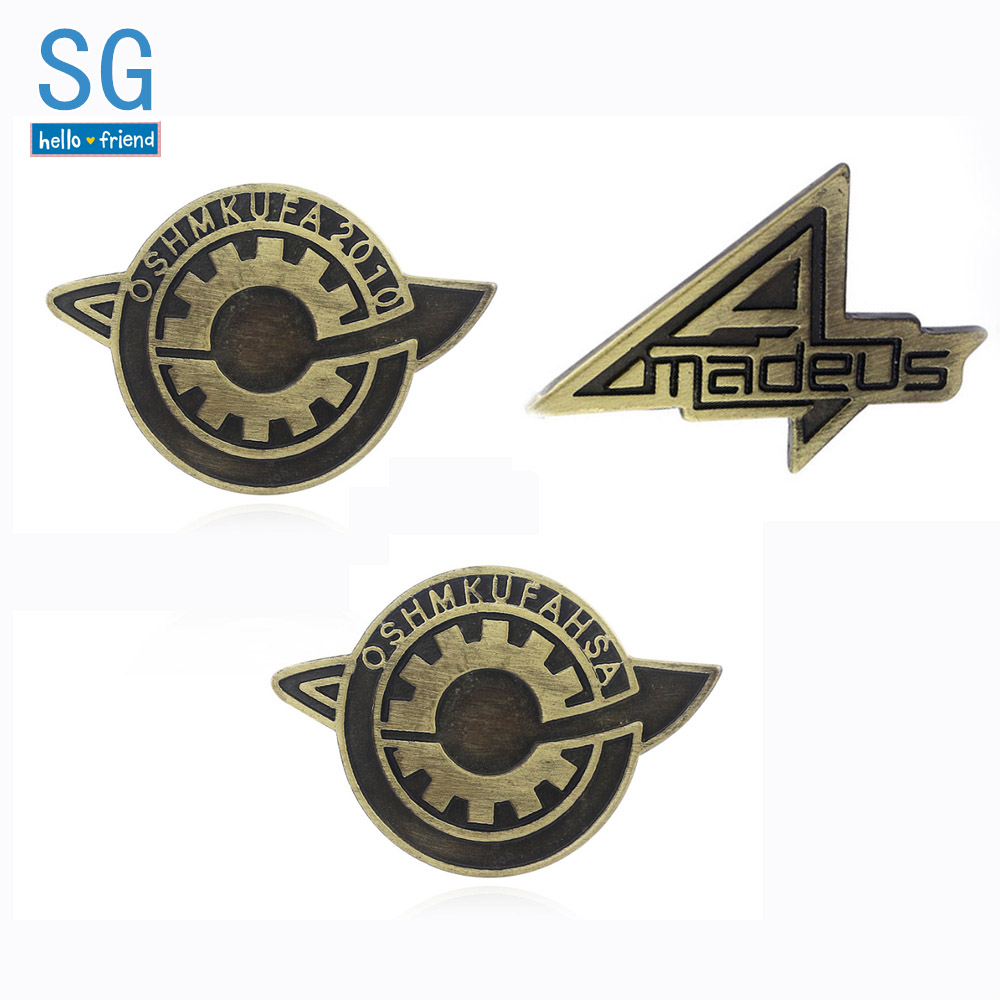SG Steins Gate OSHMKUFA Letter Badge Brooches Makise Kurisu Labmen The Fate Of The Stone Pins Men Game Cosplay Jewelry Xmas Gift