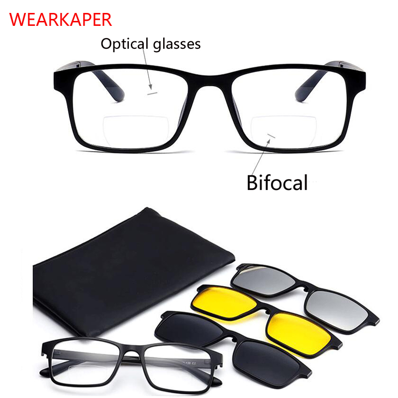 4 In 1 TR90 Optical Frame Magnet Bifocal Reading Glasses Night Vision Polarized Clips On Presbyopic Spectacles Diopter 1.0-3.0