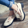 British Style Retro T-Strap Oxfords Shoes For Women Square Heel Buckle Strap Women Shoes Casual Round Toe Cut-Outs Leather Flats