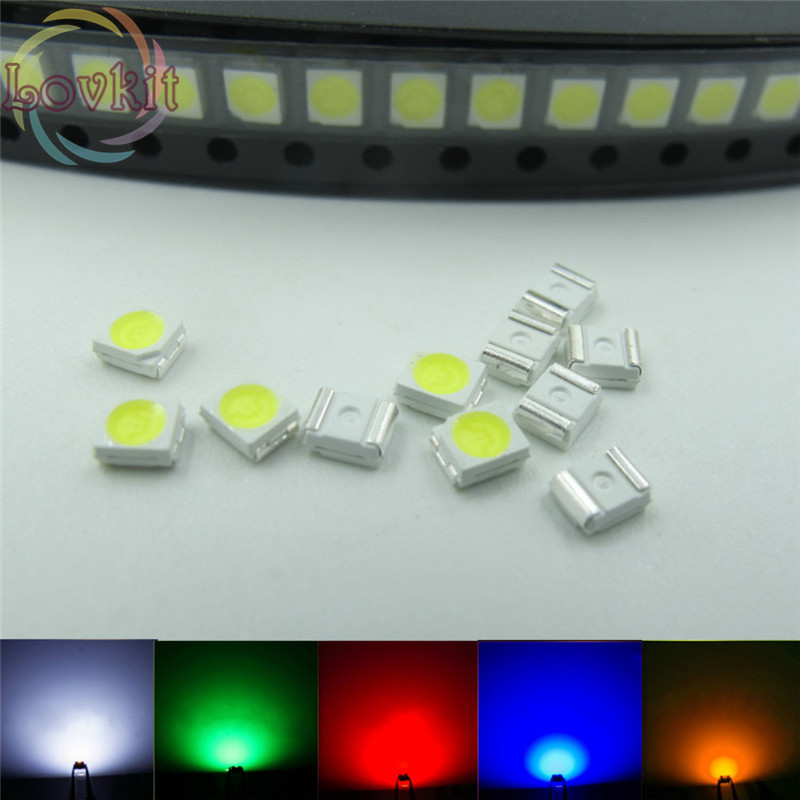 500pcs 3528 1210 PLCC-2 SMD/SMT LED 100X Each Color White Red Blue Green Yellow Emitting Diode High Quality SMD Chip Lamp Beads