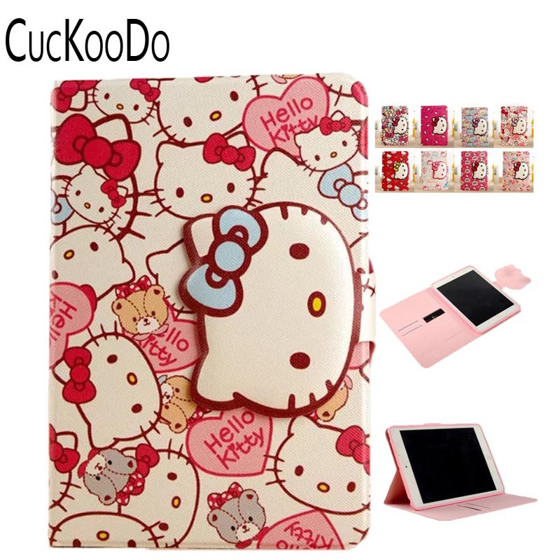 CucKooDo 30Pcs/lot Cartoon Cute Hello Kitty Smart Card Slot Filp Stand PU Leather Protective Cover For Apple ipad Pro 9.7 Inch new animal cartoon tiger owl pu leather stand for apple ipad pro 9 7 case with card slot protector back cover stylus