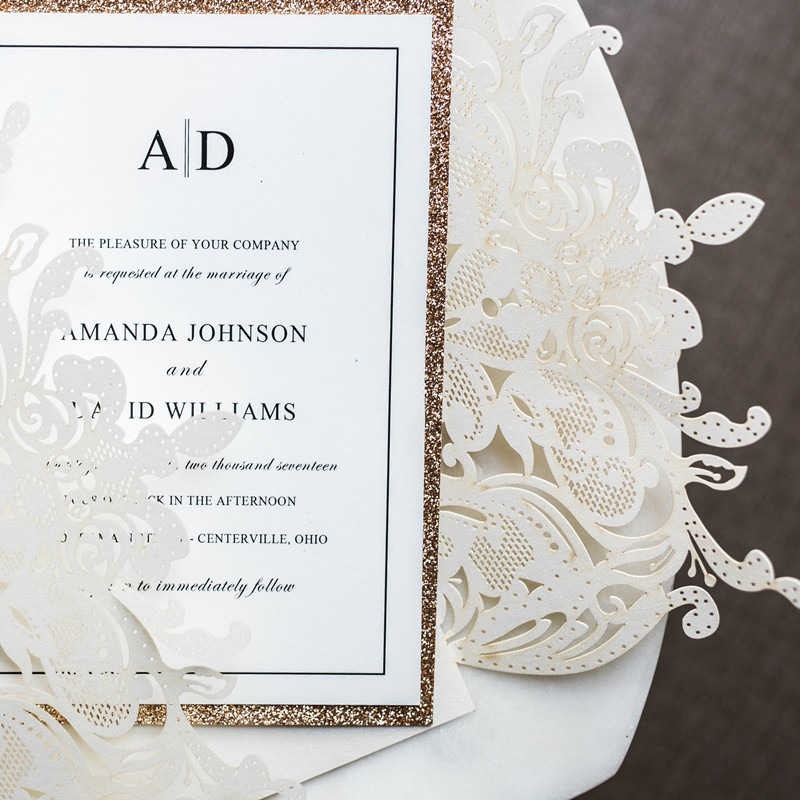 (100 stücke/los) anpassen Druck High end Weiß Hochzeit Einladen Karte Laser Floral Glittery Engagement Taufe Einladungen IC120W-in Karten & Einladungen aus Heim und Garten bei  Gruppe 3