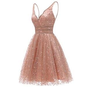 Image 4 - VKbridal/блестящее мини платье с глубоким v образным вырезом и кристаллами для выпускного вечера, сверкающие платья для выпускного вечера, короткие платья для девочек