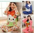 Envío Libre de manga larga ropa de dormir pijamas para las mujeres de dibujos animados conjunto de salón pijama feminino señoras pijama de dormir de las mujeres