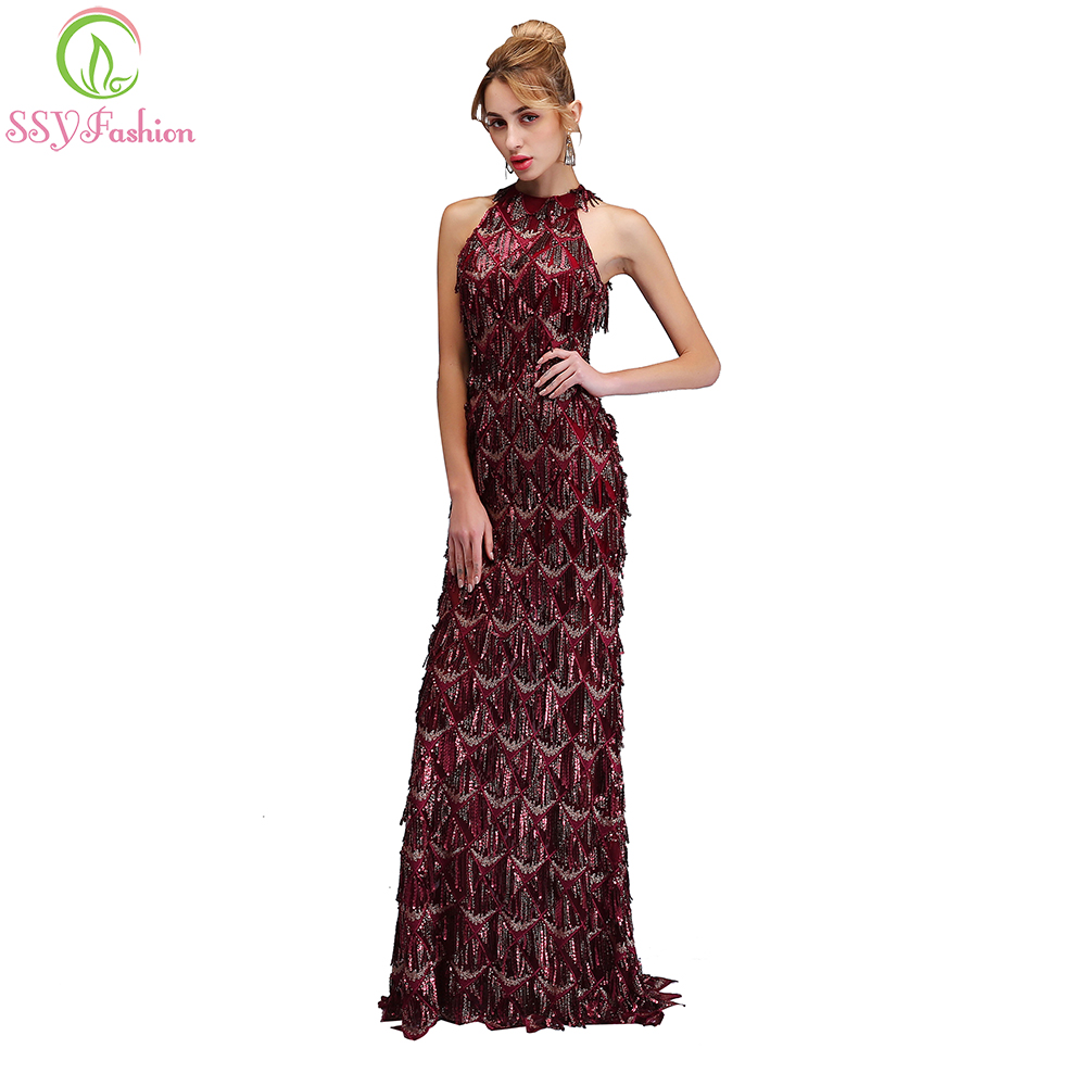 SSYFashion 2018 New Luxury Sequins Mermaid   Prom     Dress   The Bride Halter Slim Sexy Burgundy Backless Party Gown Robe De Soiree