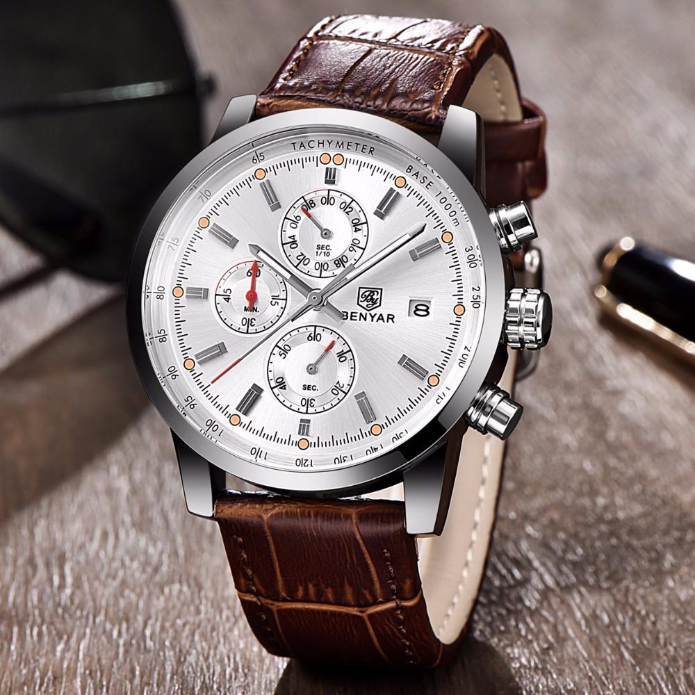 Prix pour BENYAR Mode Hommes de Montres Quartz Analogique Montre-Bracelet Étanche Chronographe Date Automatique Bracelet En Cuir Relogio Masculino