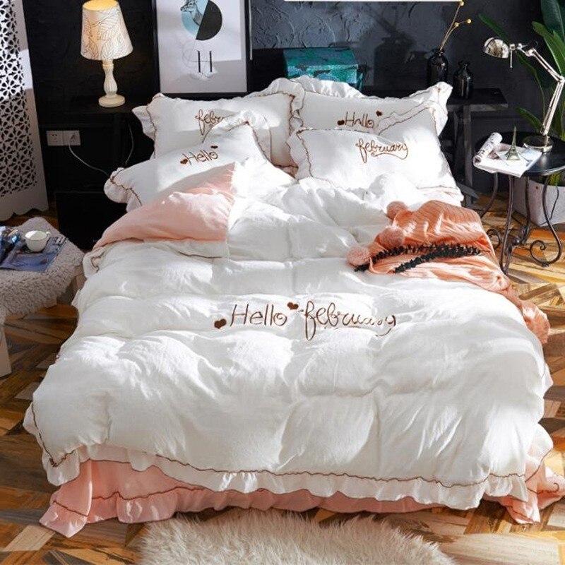 Nouveau style brodé flanelle coton lavé jupe quatre pièces feuille japonaise pure couleur literie broderie ensemble de couette