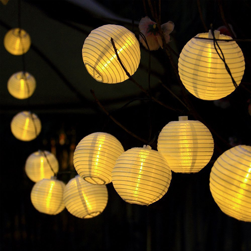 IP65 4m LED Outdoor Solar Lights String Lights, Ball Patio Lights String  For Christmas Wedding Party Decorations