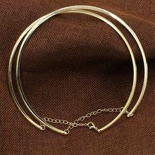 Горячее предложение, 1 шт., новое простое круглое кольцо в стиле панк для женщин, женское металлическое Золотое серебряное ожерелье-ошейник, модные украшения
