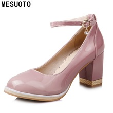 MESUOTO New Fashion Style Thick High Heels Womens Shoes Buckle Strap Patent Leather Spring Dress Shoe Lady Pumps
