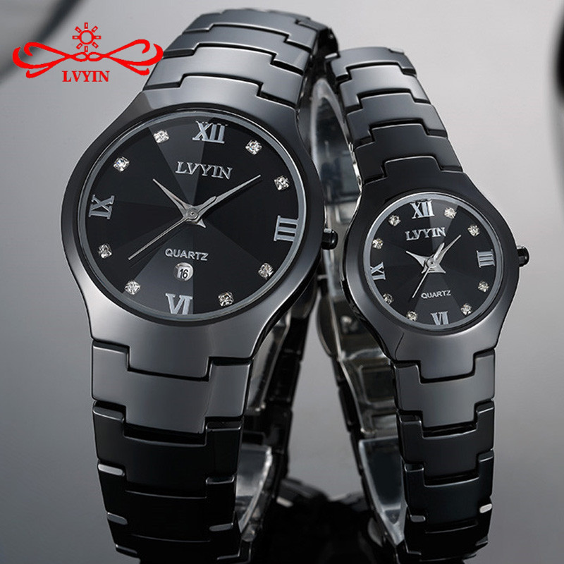 LVYIN Ceramic Couple Watches Brand Luxury Black Lover Women Men Relojes Hombre With Box Quartz Calendar Dress Watches LY011