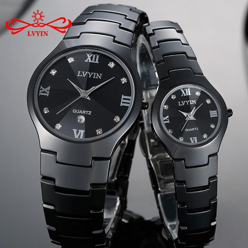 LVYIN Ceramic Couple Watches Brand Luxury Black Lover Women Men Relojes Hombre With Box Quartz Calendar Dress Watches LY011