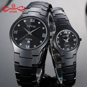 LVYIN ceramiczne zegarki dla par marka luksusowe czarny kochanek kobiety mężczyźni Relojes Hombre z pudełkiem sukienka zegarki kwarcowe kalendarz LY011