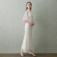 Simple High Neck Beading Lace Vestidos De Novia Boda Pearls Split Mermaid Wedding Dresses Half Sleeve Ankle Length Bridal Gowns