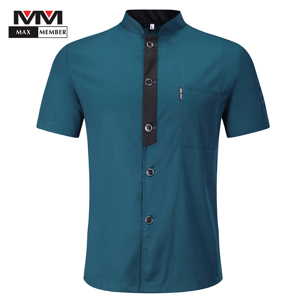 Men Single Breasted Short Sleeve Summer Work Wear T-shirts Chef Kitchen Uniforms Restaurant Waiter Catering Soft Jackets Aprons