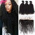 Kinky вьющиеся девы волос с закрытие lace фронтальная weave курчавый бразильский наращивания волос 4 шт./лот кружева фасады с ребенком волос